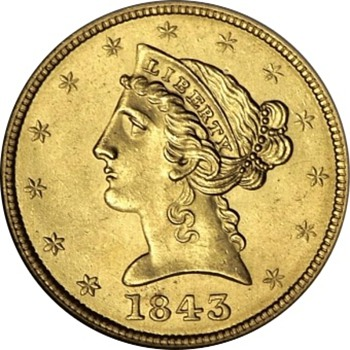 1843 $5 Gold Half Eagle from the S.S. New York Shipwreck - US Coins