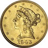 1843 $5 Gold Half Eagle from the S.S. New York Shipwreck