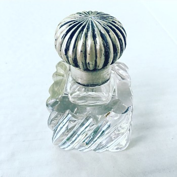 Vintage Silver Handmade glass Container