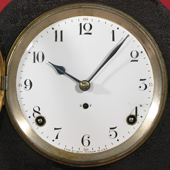 Seth Thomas Tambour Clock with Enamel Dial - Clocks