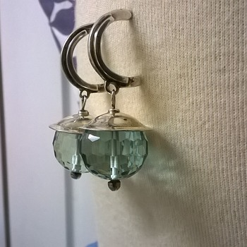 Big Sterling Silver/Faceted Crystal Earrings Thrift Shop Find 12 Euro ($12.75) - Fine Jewelry