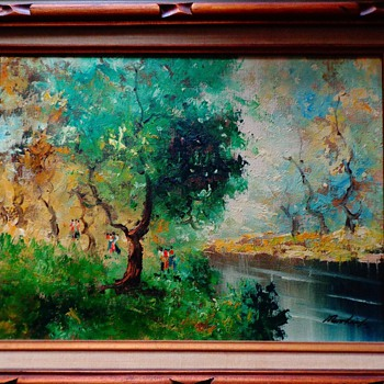"Oil Painting By Norlink ""Riverside"" with Certificate of Authenticity"