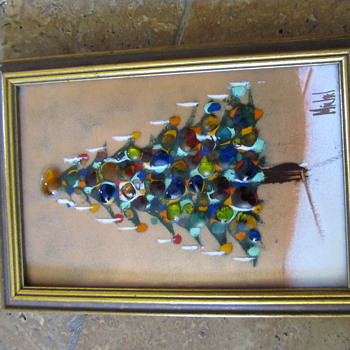 Framed 3-D Glass Christmas Tree signed Michel (I think) - Art Glass
