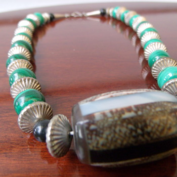 Malachite and Sterling Silver Choker Necklace - Fine Jewelry