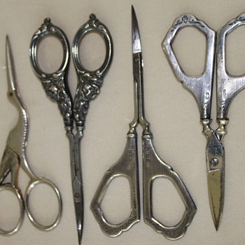 Antique Sterling Silver Sewing Scissors  - Sterling Silver