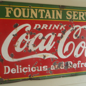 Coca Cola Fountain Service Sign