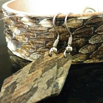 Rattlesnake skin bracelet cuff and earrings from Opp, Alabama rattlesnake festival.
