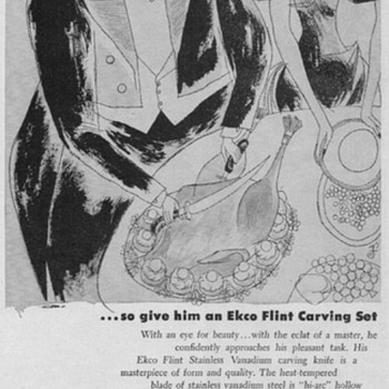 1950 EKCO Flint Carving Set Advertisement - Advertising