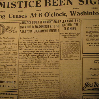 Armistice Signed  Article from Newspaper - Paper