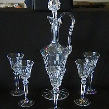 St. Louis Cristal France 'Excellence' clear crystal handled wine decanter and glasses