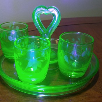 Uranium Glass Tray and Shot Glasses
