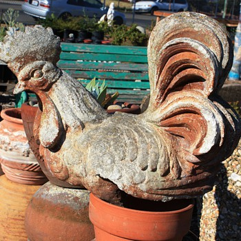 Cement Rooster with great patina - Animals