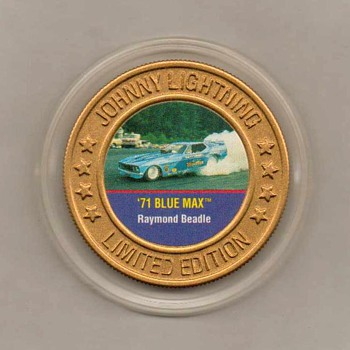 Johnny Lightning '71 Blue Max Mustang Collector Disk