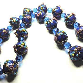 Vintage Venetion Cobalt Blue Wedding Cake Glass Bead Necklace - Costume Jewelry