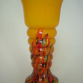 Czech Art Deco Welz Spatter Glass Vase