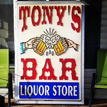 """Seward Alaska """"Tony's Bar"""" Double Sided Sign"""