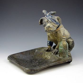 Austrian Cold Painted Bronze Nodder Dog Vide Poche - Art Nouveau