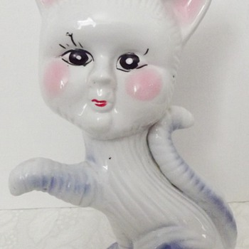China Cat Figurine Blue & Pink - Glassware
