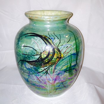 Vintage Glazed Hand Painted Fish Pottery Vase Help - Art Pottery
