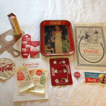 Coca-Cola Tray, Thermometer, Matches, & more