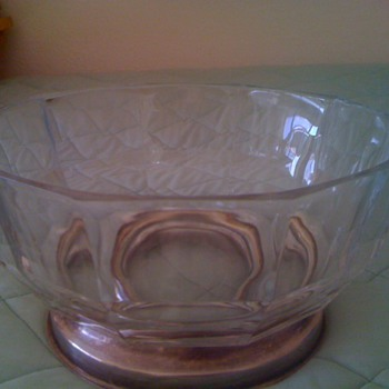Marked Italy on bottom - very thick glass with silver base
