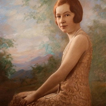 Tinted Flapper Portrait On Cardboard Signed Bachrach