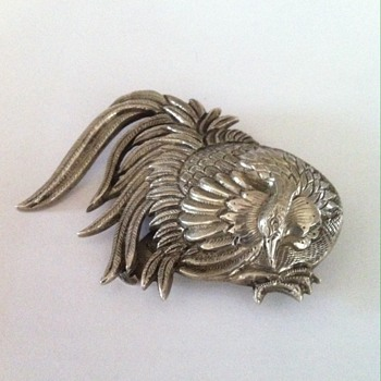 Old  rooster Chinese silver clip. - Fine Jewelry