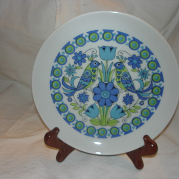 BLUE  FLORAL BIRDS PLATE - Kitchen