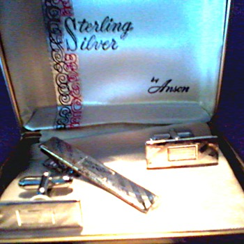 """Anson""  Men's Sterling Silver Cufflink and Tie Clip Set /Diagonal Cut Pattern Engravable Square/Circa 1950's 60's"