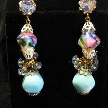 Vendome art glass earrings - Costume Jewelry