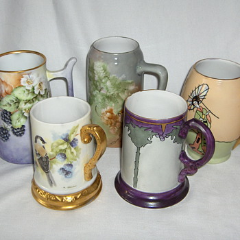 Five Attractive Hand Painted European Porcelain Blanks Early 20th Signed