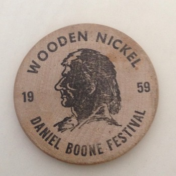 Rare 1959 Daniel Boone Festival Barbourville KY Wooden Nickel