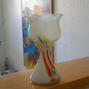Czech goblet vase end of the day  - Art Glass