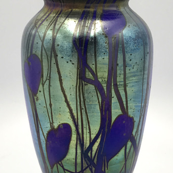 "Cobalt Hearts & Vines Vase. 6.25"" Tall. Unknown maker"
