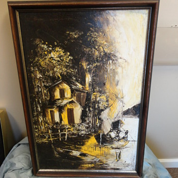 Black & Yellow Oil Based Boat Painting on Canvas signed by artist Michel - Mid Century Modern