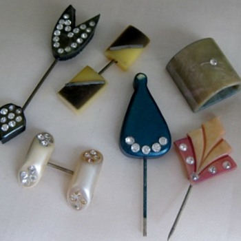 1930's plastic, galilith and celluloid stick pins dimestore items - Costume Jewelry