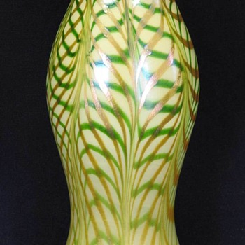 Quezal Three Color Lattice Vase c.1910