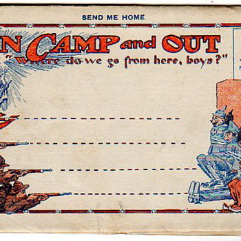 Vintage WWI MilItary 1914 Postcard Fold~Out Cartoons - Postcards