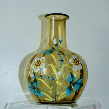 Victorian Bohemian? French? Painted Enamel Flower Optic Carafe Vase - Art Glass