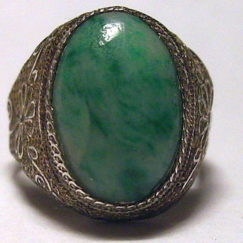 Very Old Ring CHINESE ( ?? ) Silver/Jade - Fine Jewelry
