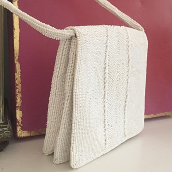 Pretty Little White Walborg Hand-Beaded bag