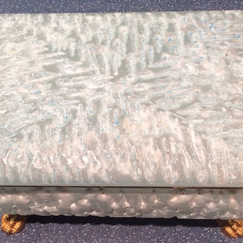 Antique Alabaster footed casket
