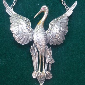 Nouveau/Belle Epoque stork pendant - Art Nouveau