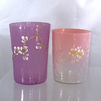 Early Loetz DEK III/26 Pink Opalescent to Clear & DEK III/115  Enamelled Tumbler  - Art Glass