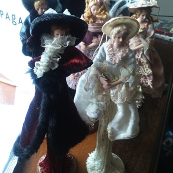 Porcelain Dolls on stands