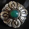 Jugendstil 800 Silver & Chrysoprase Brooch c. 1900, by Wilhelm Müller of Berlin