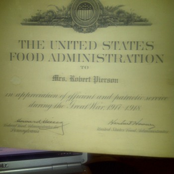signed herbert hoover n howard heinz food aadministration letter