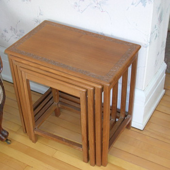 `Suffering Moses`carved nesting tables - Furniture