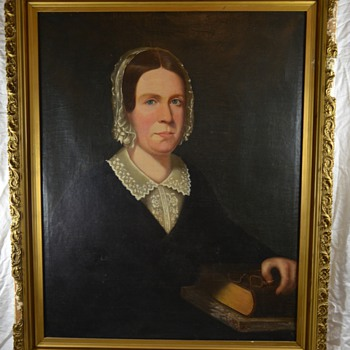 Antique Portrait Painting of Shaker or Quaker Woman with Bonnet New England