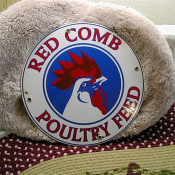 RED COMB POULTRY FEED SIGN - Signs